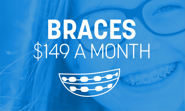 A young girl with braces smiles beneath a special offer on braces at Lovett Dental in Webster, TX