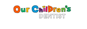 Logo for our children's dentist, colorful letters for our children, transparent background
