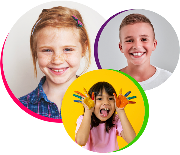 Two girls and a boy smile to show their clean teeth after receiving pediatric dentistry in Webster, TX